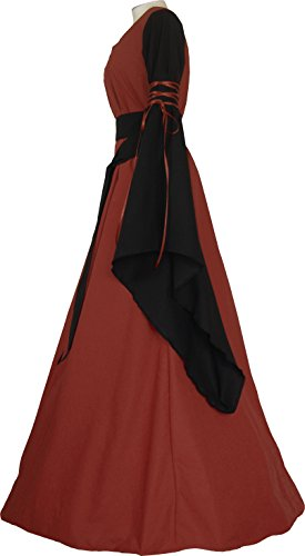 Ziegelrot Dornbluth Damen schwarz Mittelalterkleid Hedwig wttq07r