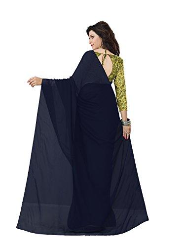 Georgette Faux Femmes Sari Solide Avec Des Vêtements Indiens Tissu Imprimé Blouse Décousus Mirchi De Mode (option Couleur 5293_with) Bleu Marine