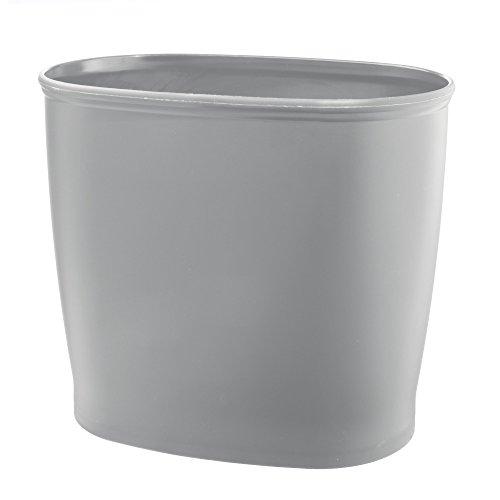 mDesign Modern Oval Plastic Small Trash Can Wastebasket, Gar