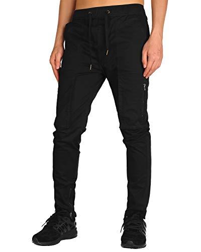 THE AWOKEN Men's Chino Cargo Pants with Two Bellow Zipper Pockets Zipper Ankle (Black, XS) ()