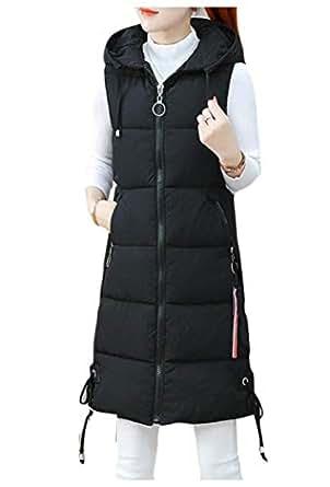 Howely Women's Casual Plus-Size Hoodie Solid Mid-Long Puffer Vest Coat Jacket Black 2XL