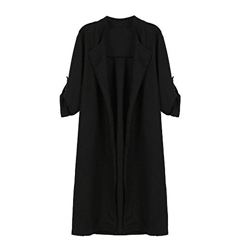Cárdigan para Larga de Capa Cascada de Abierto Poliéster Elegante Trenca Grandes Chaquetas LILICAT Negro Abrigo otoño Mujer Tallas Abrigo Spandex de YZTzw1