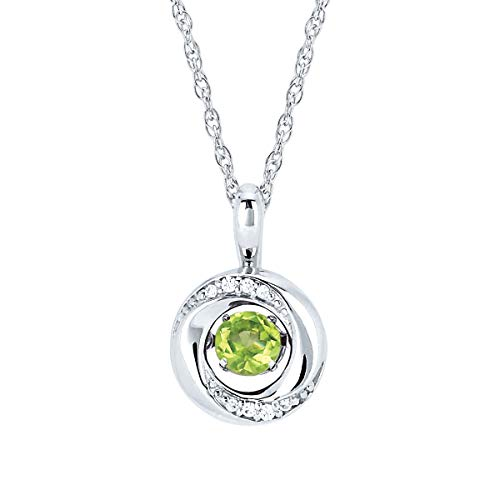 Brilliance in Motion 925 Sterling Silver 1/5 Carat Dancing Peridot August Birthstone & Diamond Accent Knot Pendant Necklace with 18