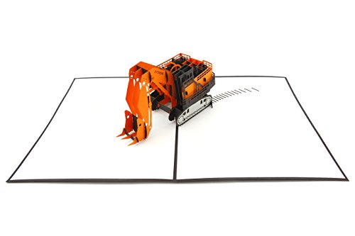 PopLife Digger Excavator Machine Pop Up Card for All Occasions - Happy Birthday, Congratulations, Retirement, Fathers Day - Machinery Buffs, Construction Tools, Party Favor - Folds Flat for - Birthday Transformers Card