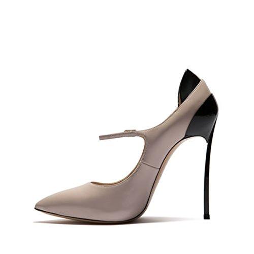 Peu 39 Chaussures Fine Fait beige Simple Boucle Haut Femmes Avec Bouche Profonde Talon PPnAaqtRw