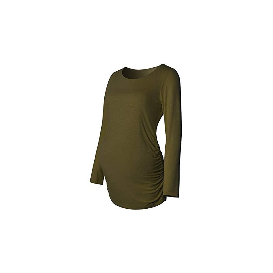 Maternity Clothes for Women,Long Sleeve Solid Ruched Pregnancy Nursing Pullover Jumper Tunic Tops Blouse T Shirts