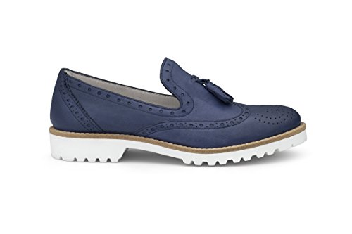 Soldini Women's Loafer Flats Blue Denim 5 b0O3Q4