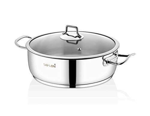 (Saflon Stainless Steel Tri-Ply Capsulated Bottom 5 Quart Saute Pot with Glass Lid, Induction Ready, Oven and Dishwasher Safe)