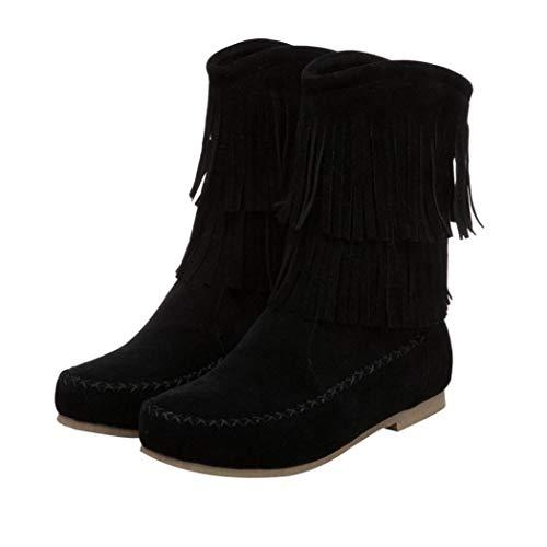 la féminine etti mode Low Bottes à noir à pour Vovotrade Bottines franges femmes FHazxxqPZw