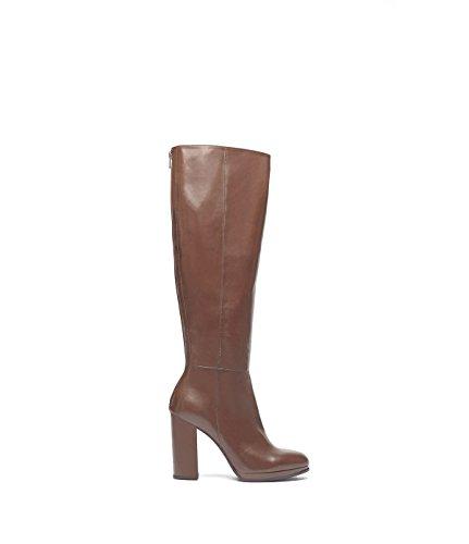 PoiLei Ina - Damen-Schuhe / eleganter Langschaft-Stiefel aus glänzendem Echt-Leder - rund, mit High-Heel Block-Absatz braun