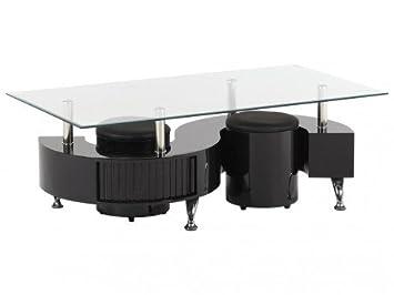 Poufs V 2 Basse Laqué Table Inclus NoirCuisine Ying trxhQCBsd