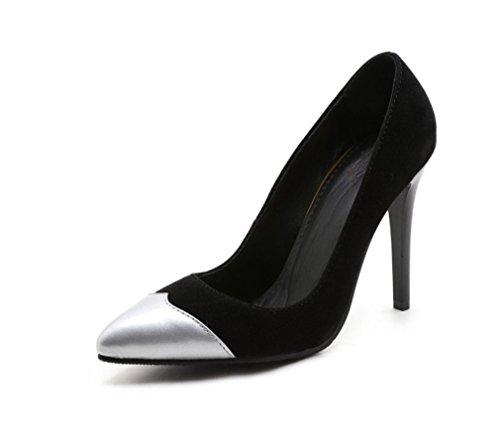 Heels Silver Klassische Zehenschuhe Brautmädchen Sexy Frau CLOVER A Sandalen LUCKY Pumps Stiletto Hofschuhe Heel High Schuhe Spitzen tB40xq