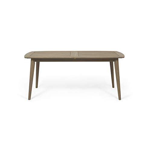 (Great Deal Furniture Candance Outdoor Acacia Wood Expandable Dining Table, Gray)