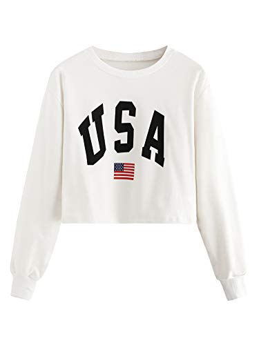 (SweatyRocks Women's USA Letter Printed Flag Crop Top Sweatshirt Tops White S)