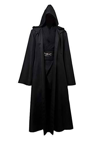 GOTEDDY Men Cosplay Robe Tunic Outfit Black Costume for Halloween Dress -