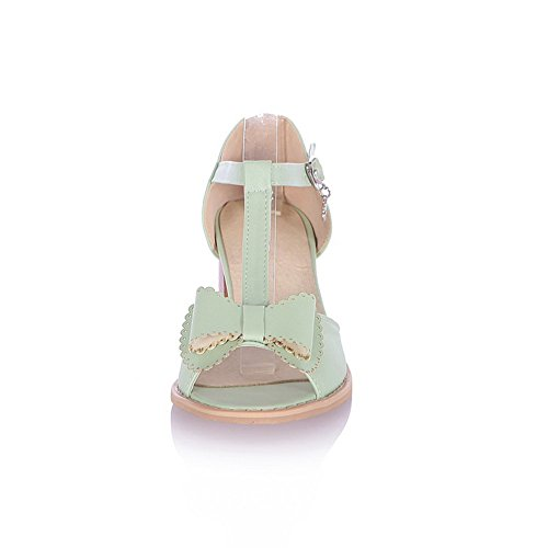 with Kitten Peep Buckle and M Toe Soft Material PU Open Womens B US Heel WeenFashion Sandals Green Bowknot 5 Solid x1IRP7Ewqn