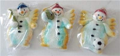 NEW Set Of 3 SNOWMEN ANGELS Playing Sports CHRISTMAS Ornaments