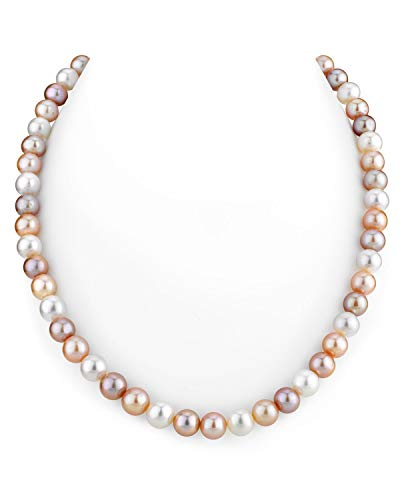 (THE PEARL SOURCE 8-9mm AAA Quality Round Multicolor Freshwater Cultured Pearl Necklace for Women in 18
