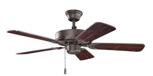 Kichler Lighting 412SNB Basics 42-Inch Ceiling Fan, Satin Natural Bronze Finish with Reversible Cherry/Teak Wood Blades
