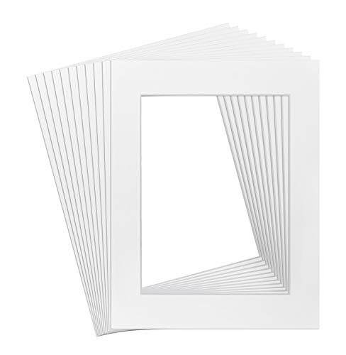 Golden State Art, Acid Free, Pack of 10 White Pre-Cut 11x14 Picture Mat for 8.5x11 Photo with White Core High Premier Bevel Cut - Framing 1
