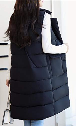 Lunga Gilet Il Cappotto Discesa Ha Il Riempito Ispessito Outwear Gocgt Nera Collare Giacca Femminile Risvolto Del Puffer Cotone 8qU0747