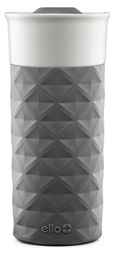 Ello Ogden BPA-Free Ceramic Travel Mug with Lid, Grey, 16 ()
