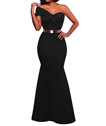 - SEBOWEL Women's Sexy One Shoulder Ponti Gown Mermaid Evening Maxi Cocktail Party Dress Black L