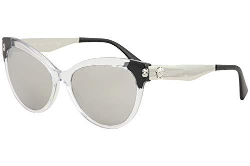 Versace Women's VE4338 Crystal Black/Light Grey Mirror Silver One Size (Versace Hydrating Lipstick)