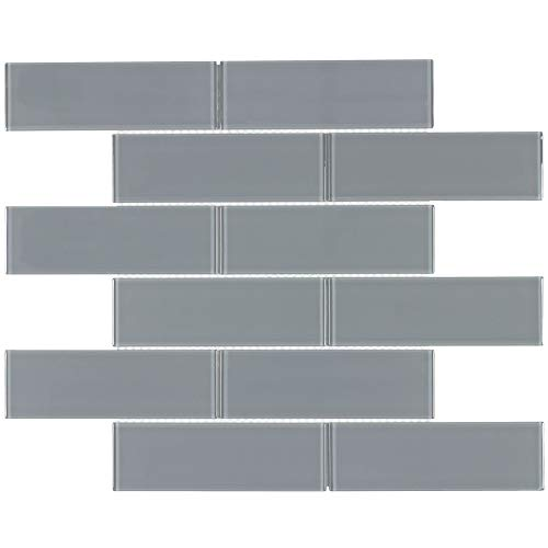 MTO0298 Classic Subway Gray Glossy Glass Mosaic Tile