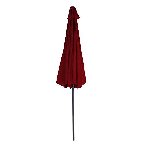 Pure Garden Aluminum Patio Umbrella with Auto Crank, 9', Red