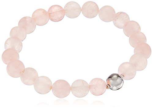 Plated Silver Beaded Stretch Bracelet (Genuine Rose Quartz 8mm Bead with Fine Silver Plated Bronze Accent Gemstone Stretch Bracelet, 6.5