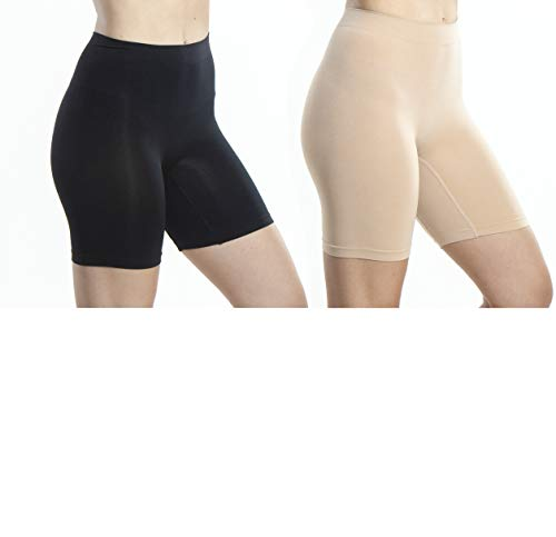 Emprella Biker Shorts Women, 2 Pack Bike Shorts, Spandex Slip Shorts Yoga Gym Black/Nude