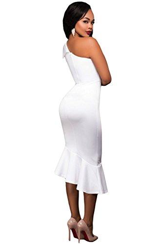 Neuf femmes Blanc une épaule à volants Robe midi Bureau Robe Soirée Taille M UK 10–12–EU 38–40