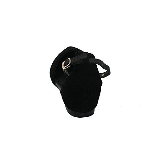 AalarDom Mujer Hebilla Puntera en Punta Material Suave Sólido Plano Negro