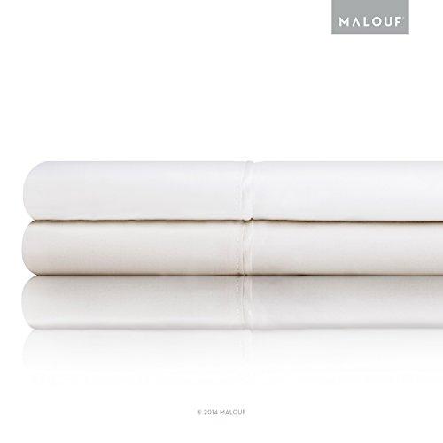 MALOUF Italian Cotton Percale Pillowcases - 100% Authenti...