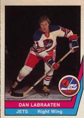 1977 O-Pee-Chee WHA (Hockey) Card# 57 Dan Labraaten of the Winnipeg Jets ExMt Condition