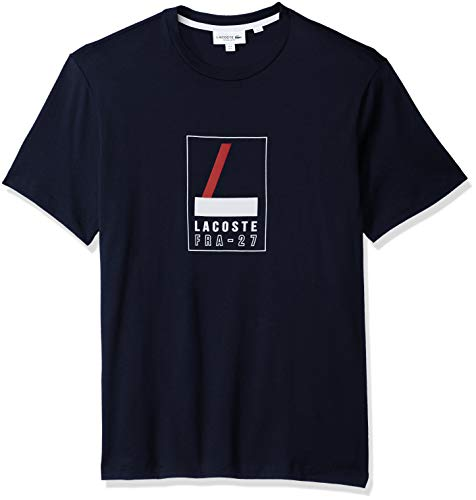 Lacoste Men's Short Sleeve REG FIT Heritage Graphic TEE, Navy Blue, X-Large