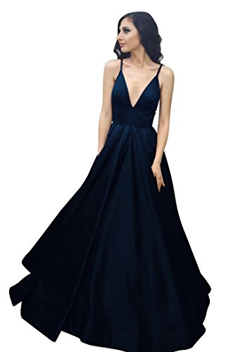 Ball Dresses with Pockets Satin Blue Navy Spaghetti Prom Straps Gown Long VinBridal y1Iq77