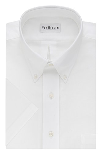(Van Heusen Men's Short-Sleeve Oxford Dress Shirt, White, 16.5