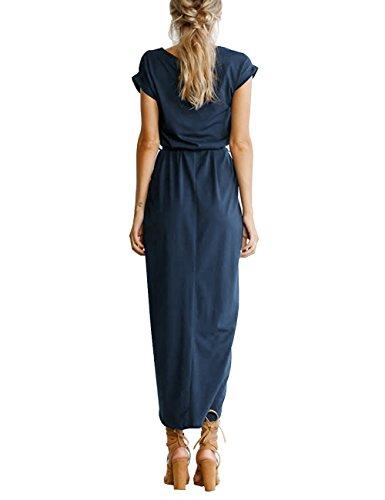 Isassy Women S Summer Boho Belted Long Maxi Dress Short Sleeve Beach