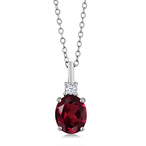 2.25 Ct Red Rhodolite Garnet White Created Sapphire 925 Sterling Silver Pendant by Gem Stone King