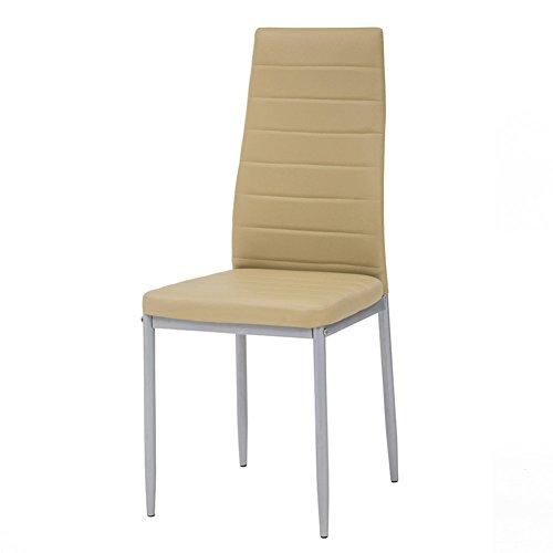Cribel-Queen-Juego-de-sillas-de-metal-y-piel-sintetica-4-unidades-Beige