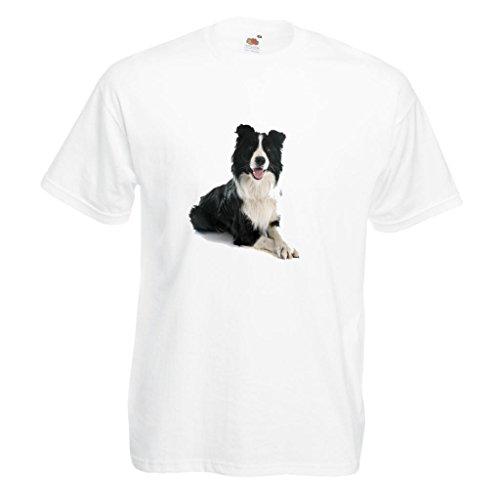 - Black & White Border Collie Dog Image White Standard T-Shirt