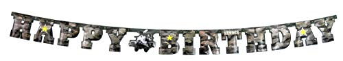 """Havercamp US Army Military Happy Birthday Banner – Large 7"""" Cardboard Letters in Camouflage Pattern & Apache Helicopter for Army Themed Birthday Parties & Military Party -"""