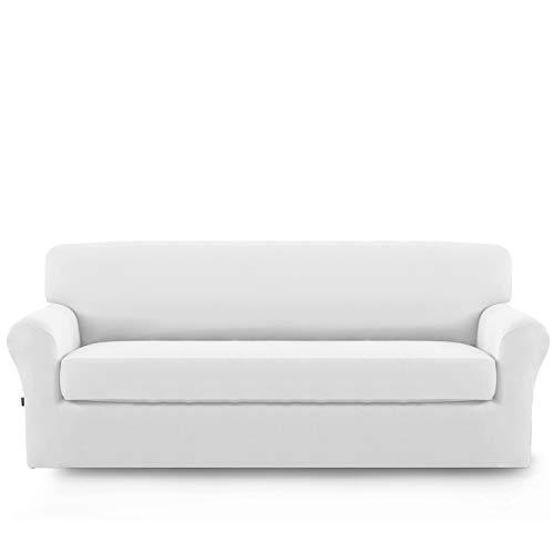 Microfiber White Sofa - Stretch Sofa Slipcover,2-Piece Sofa Cover Furniture Protector Couch Micro Fiber Super Soft Sturdy with Elastic Bottom Pets,Kids,Children,Dog,Cat(Sofa,Snow White)