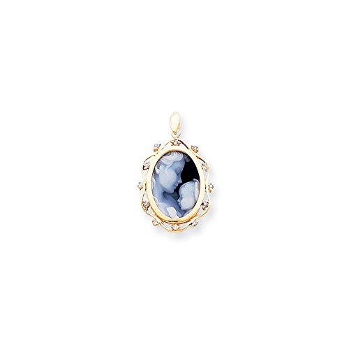 14k Heavens Gift Diamond Agate Cameo Pendant (Heavens Agate 14k Gift)