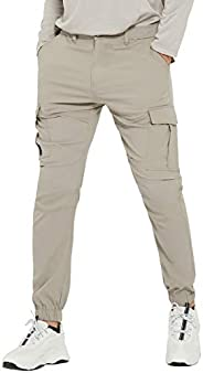 PULI Men's Hiking Cargo Pants Slim Fit Stretch Jogger Cycling Waterproof Outdoor Trousers with Poc