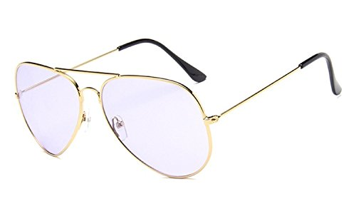 Nuni Unisex 3026 Gold Wire Frame Tinted Lens Aviator Sunglasses (gold, - Purple Tinted Glasses