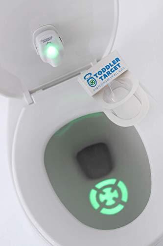 Toddler Target Adjustable Potty Toilet Bowl Training Learning Easy Fast Fun Motion Sensor Activated Bullseye Illuminated Laser Beam Nightlight