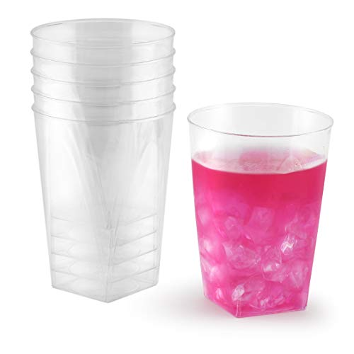 - 10 oz Clear Plastic Cups | Square Disposable Cups | Old Fashioned Tumblers | 100 Pack | Beverage Party Cups | Hard Plastic Drinking Cups | Ideal for Wine, Cocktails & Punch ...